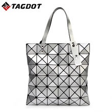 With Logo New Women BAOBAO Bag Geometry Package Sequins Mirror Saser Plain Folding Handbags Fashion Ladies Shoulder Bags 6*6