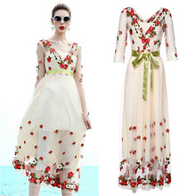 2017 Spring Summer Designer Maxi Dress Women's High Quality Half Sleeve Fancy Floral Flower Embroidery Mesh White Dresses V-neck