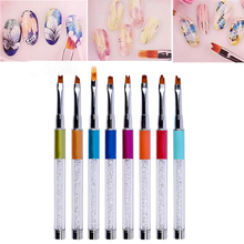 Nail Art Brush Rhinestone Metal Smile Moon French Gradient 3D Pen UV Gel Polish Painting Drawing Petal Flower Line Manicure Tool