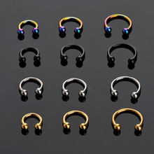 LNRRABC Sale 2 Pcs Stainless Steel Nostril Nose Ring Lip Rings Earrings Sircular Piercing Ball Horseshoe Hoop Ring Body Jewelry(China)