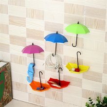 Colorful Umbrella Wall Hook Rack Creative Umbrella Shape Wall Mounted Sticky Single Hook For Key Jewelry Small Items 3pcs/set