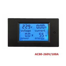 AC 80-260V/100A Digital AC Ammeter Voltmeter Current Voltage Power Watt Energy Meter Monitor with Transformer Blue Backlight(China)