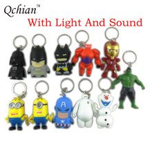 Star Wars Key Chains Darth Vader keychain Holder The Avengers Alliance Hulk Iron Man Big Hero 6 Batman Olaf Led Keyrings(China)