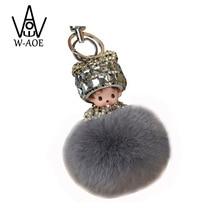 Monchichi KeyChain Exquisite Crystal Doll Real Rabbit Fur Pom Pom 13Colors Woman Bag Charm Pendant Birthday Valentines Gift 7032