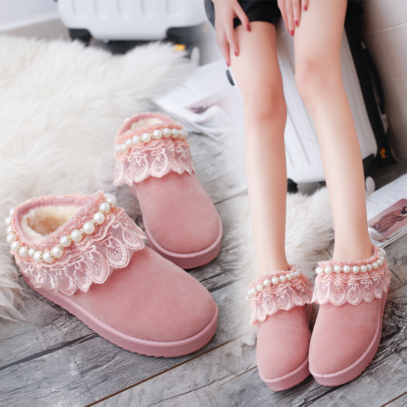 Women Boots Shoes Woman Winter New Lace Snow Boots Female Leisure Sweet Short Plus Velvet Thick Warm Shoes Ankle Boots For Women<br><br>Aliexpress