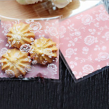 25 pcs/lot 8 X 8 +3 cm Pink rose flower adhesive bag cookies Gift Bags for Christmas Wedding Party Candy Food Packaging bags