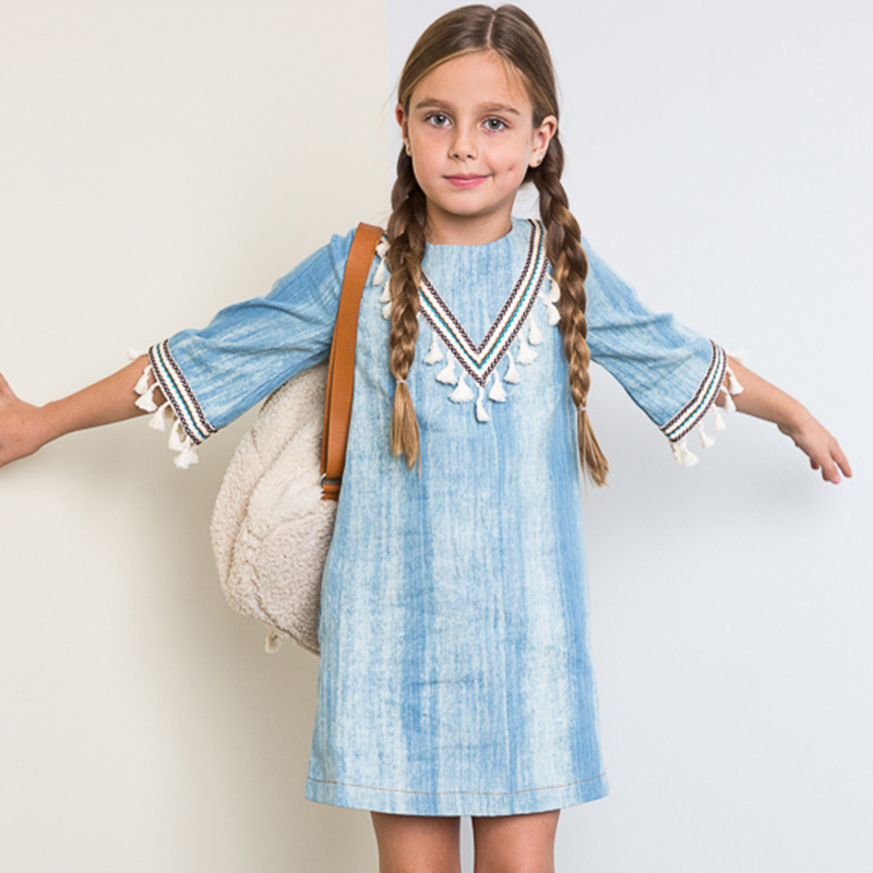 2017 New Spring Summer Fashion Tassel Pattern Hollow Trumpet Sleeves Denim Dress Childrens Clothing For Female Baby A-Line<br><br>Aliexpress