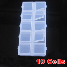 2pcs/lot 10 Grid Transparent Box Plastic Cosmetic Nail Art Pill Box Case Portable Storage Container Parts Stones Tools Y2862(China)
