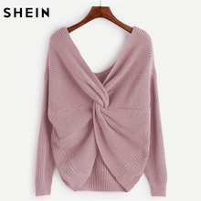 SHEIN V Neckline Twist Front Loose Sweater Sexy Women Pullover Sweaters Purple Long Sleeve Woman Autumn Sweater(China)