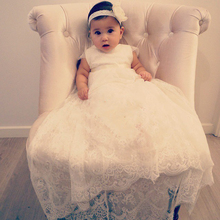 Cheap Custom Ivory Christening Dress Toddler Gown Full Length Baby Girls Baptism Dress Kids First Communication Dress A-Line New(China)