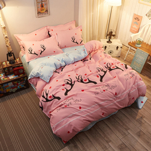 XINLANISNOW Pink Bedding Sets Soft Bed Sheets Jungle deer fox Quilt Duvet Cover Sets Pillowcase King Queen Full Twin Bedclothes