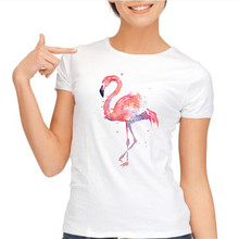 yiwuliming Women Summer Novelty Pink Flamingo shirt Exotic Birds Design T shirt vintage tops Hot Sales Tee Shirts