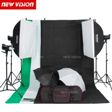 Free DHL Godox 900W Studio Flash Lighting Kit 3 X 300W Photography Strobe light & Softbox & Light Stand Portrait Kit