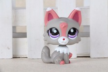 New pet Genuine Original LPS #1921 Purple Eyes Gray Pink & White Wolf Pink Ears Kids Toys(China)