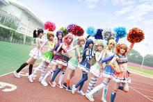 Lovelive school idol project Festival Cheerleaders Uniforms Umi/ Eli/ Hanayo/Nico/Rin Cosplay costume Lolita Costume with socks