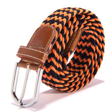 Men Women Waistband Unisex Canvas Woven Leather Pin Buckle Elastic Waist Belt(China)