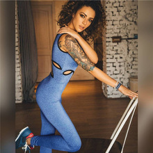 2017 Hot sale women hollow out jumpsuit sexy yoga fitness bodysuit womens sport overalls yoga clothing combinaison femme