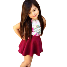 Children Girls Clothing Set Summer Floral Vest Top + Red Skirts 2pcs Baby Girls Clothing Set Toddler Girl Clothes Infant Costume(China)