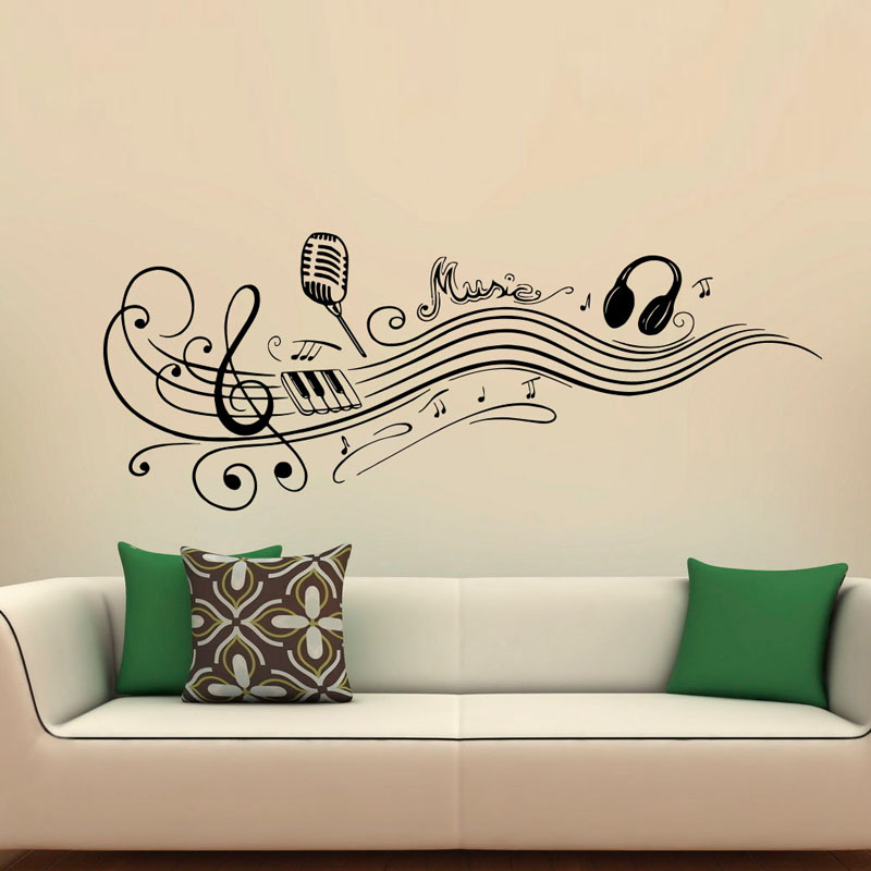 DCTOP Music Notes Wall Decals Microphone Headphones Vinyl Art Wall Stickers  Home Decor For Music Rooms Part 90