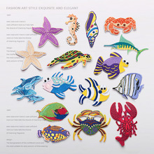 New arrival 16Designs Colorful Marine Animals Fish Embroidery patch Applique Garment Embroidery Patch DIY Accessory(China)