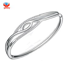 GALAXY Luxury 100% 925 Sterling Silver Inlay CZ Diamond Charm Bracelet Bangle For Women YB009