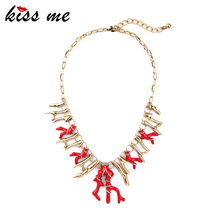 Hyperbole Fashion Modern Women Jewelry New Design Red Enamel Branches Alloy Retro Pendant Necklace Factory Wholesale
