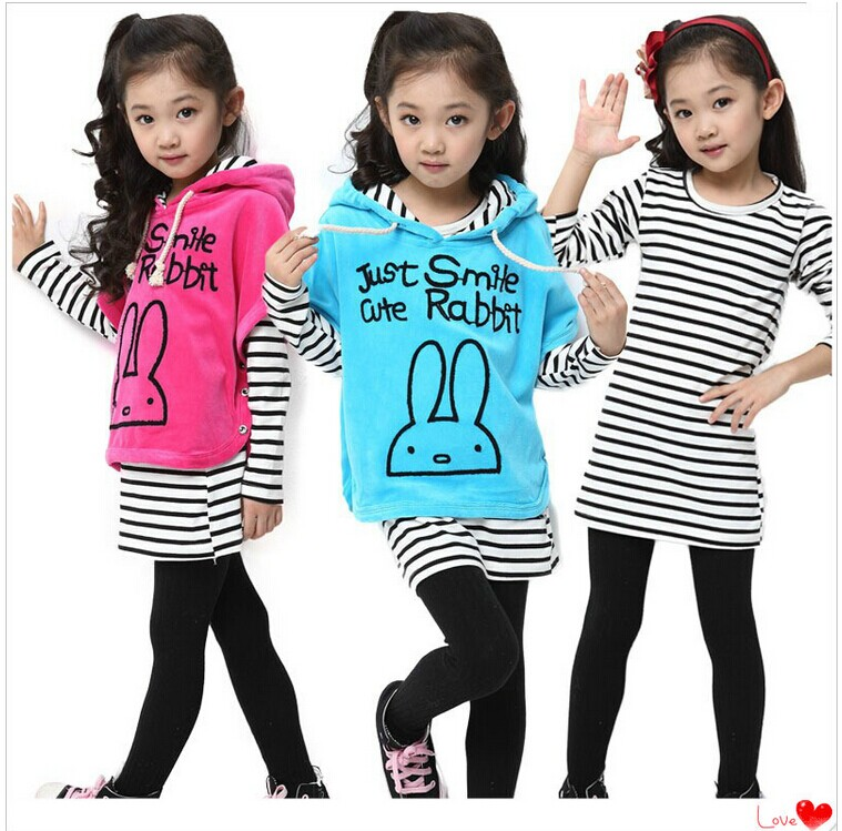 2015 spring and autumn female child set child batwing shirt three pieces set stripe set legging Children girl suit<br>