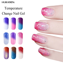 Huration 8ml 29 Color UV led Nail Polish Thermal Chameleon Temperature Change Color Gel Polish Mood Color Changing DIY Nail Art