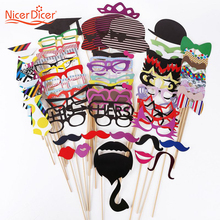 76 pcs/set  Wedding Photo Booth Props Funny Cat Glass Party Decorations Supplies Mask Mustache Fun Favors Photobooth Buck Teeth