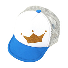 New Summer Baby Sun Hat Baseball Hats Crown Pattern Cotton Mesh Peaked Cap For Boys Girls 4 To 18 Months