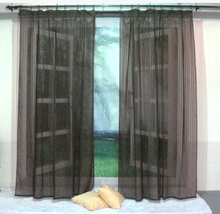 2015 New yarn/tulle/organza/yarn window screening tab top curtain, wine red/chocolate color sheer curtains for living room