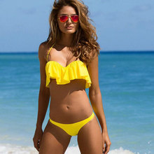 UTTU 3D Flouncy Sexy Micro Bikini Solid Yellow Swimsuit Brazilian Beach Biquini Female Push Up Swimwear Women New Swim Wear
