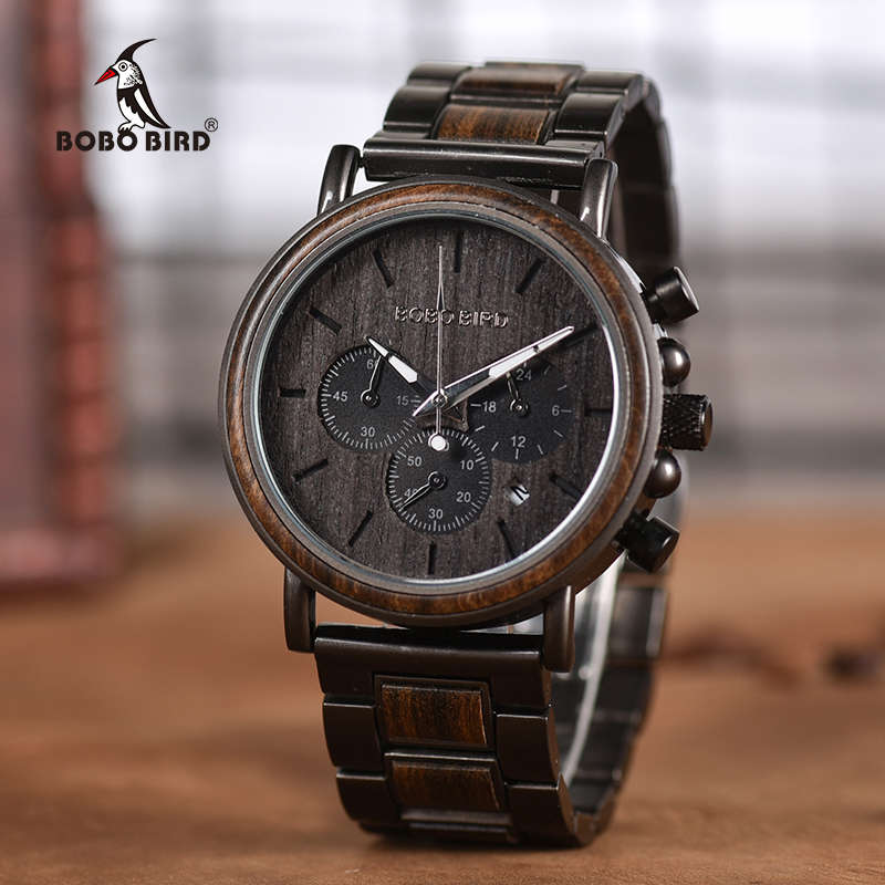 Men Watch Quartz-Wristwatches Chronograph Wooden Bobo Bird Christma Stainless-Steel Luxury title=