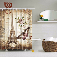 BeddingOutlet Vintage Paris Floral Eiffel Tower Butterfly Polyester Shower Curtain Bathroom Waterproof Washable 71 x 71 Inch