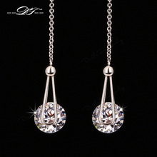 Double Fair 2 Carat AAA+Cubic Zirconia Drop/Dangle Line Earrings Silver/Rose Gold Color Long Chain Ear Jewelry For Women DFE684