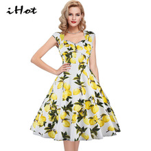 IHOT Summer lovely lemon floral print sleeveless backless swing casual dress Retro cut out pinup party Knee length Midi roupas
