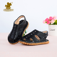 Toddler Girls Sandals 2016 Summer Kids Beach Genuine Leather Sandals for Baby Boys Solid Sandale Toe Opened Footwear Sandalias