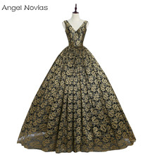 Angel Novias Long Gold and Black Evening Dress 2018 V Neck Ball Gown Lace Women Party Evening Gowns Robe De Soiree longue 2017(China)