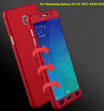 For Samsung A5 2017 A520 Case 360 Degree Full Cover Luxury PC Protective Back Case For Samsung Galaxy A3 2017 A320 + Glass Film(China)