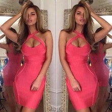 4 Colors Women Sexy Criss Cross Keyhole Orange Pink Gray Bodycon Bandage Dress Designer Party Dress