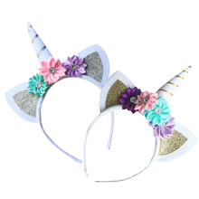 Unicorn Flower Baby Girl Headband Hairband for Women Bandeau Cheveux Femme Diademas Para Mujer(China)