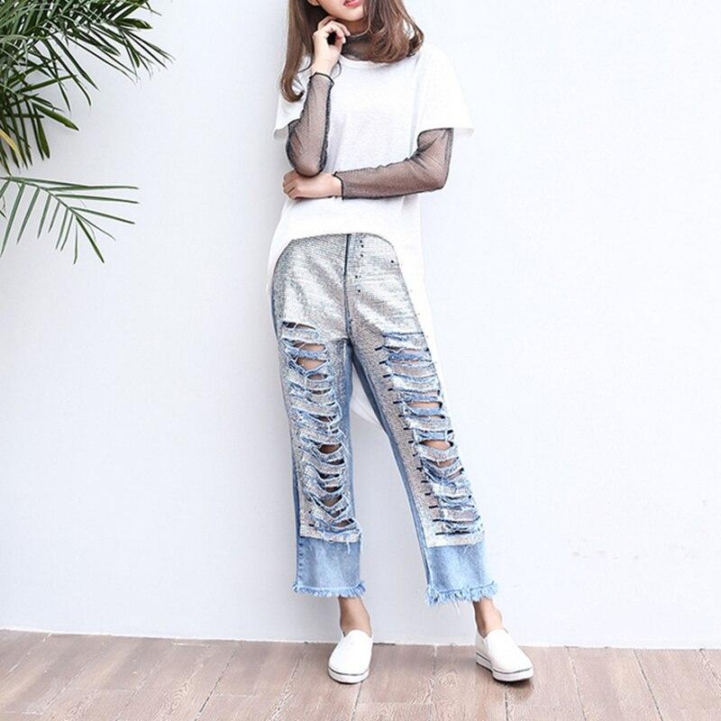 Womens Distressed Denim Ripped Jeans Crimping BF Style Female Casual Hole Hollow Out Patchwork Sequin Was Thin Pants MZ1537Îäåæäà è àêñåññóàðû<br><br>