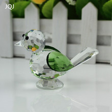 JQJ Green Artificial Crystal Glass Birds Gemstone Animal Figurine Nativity Christmas Home terrarium Figurines Craft Ornament