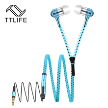 TTLIFE Metal Zipper Design Earphone With Microphone Stereo Bass Earphones In-Ear 3.5mm Wired Earpiece for a Phone Pad MP3 MP4