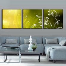 Discount Framed Painting 3 Pcs Modern Abstract Flower Painting Prints On Canvas Simple Green Floral Pattern Wall Picture Decor