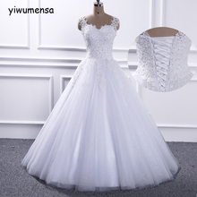 yiwumensa vestido de noiva vintage plus size wedding dresses Sleeveless boho wedding dress Appliques Lace wedding gowns 2017(China)