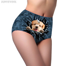 Buy Knickers High Waist Dog Women's Cute Animal High Waist Briefs Soft Knickers Lady's Panties Flexible Underwear Seamless Pant