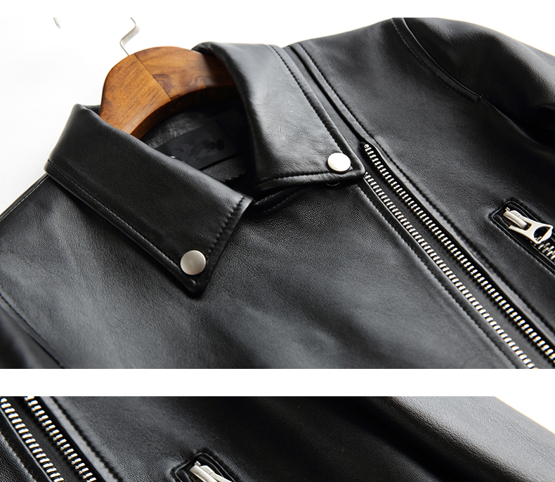 Cockscomb European and American Leather Jacket Women Turn Down Collar  Zippers Studs Real Sheepskin Leather Coats for Autumn - us676