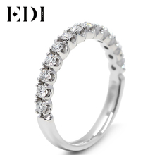 EDI Classic Real Diamond Engagement Wedding Band Natual Diamond Jewelry For Women 9K Solid White Gold Wedding Engagement Rings(China)