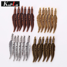 4 Color Metal Mini Feather Charms for Jewelry Making DIY Vintage Handmade Feathers Pendant Charms 80pcs 6*32mm 8261